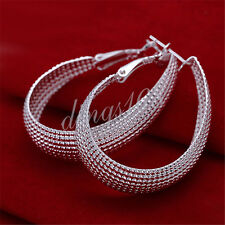 Oval Enclosure Dangle Earrings H015 925 Sterling Silver Hypo-Allergenic Big