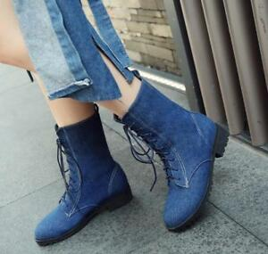 Womens Denim Lace Up Casual Mid Calf Boots Military Combat Boots Shoes Plus Size