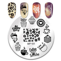BORN PRETTY Nail Image Stamping Plate Stencil Coffee Time Nail Art BP91