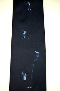 "Countess Mara Neck Tie 54"" x 4"" Vtg 50s Embroidered Golf Shot Navy Blue NWOT"