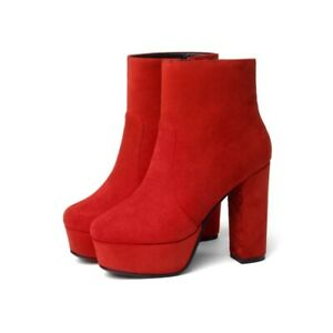 Womens Fashion Round Toe Zip Ankle Boots Casual Block High Heels Party Shoe Size