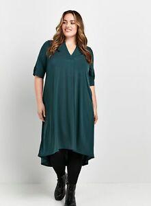 Evans Womens Green V Neckline Jersey Mid Length Plain Dress Short Sleeve