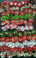 40 pcs/Christmas Rubber band hair bows for dog cat grooming handmade