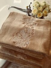 NEW Set / 8 Yves Delorme Beige Embroidered Bath Towels and Bath Sheets