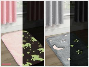 Glow In The Dark Kids Bedroom Rug Carpet Unicorn / Stars Moon Mat Pink Grey