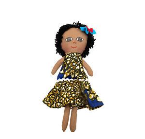 Handmade Rag Cloth Doll Floral Dress Black Short Yarn Hair Blue Ribbon 29cm