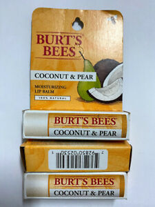 Burt's Bees - Coconut & Pear Lip Balm Tube  0.15 ounce each, 3 PACK BUNDLE