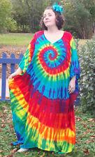 Tie Dye Caftan Poncho, Plus Size Tie Dye Dress, L XL 2X 3X Rainbow Explosion