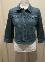 Ann Taylor LOFT Crop Jean Jacket 3/4 Sleeves Size 6 Blue Denim Button Down