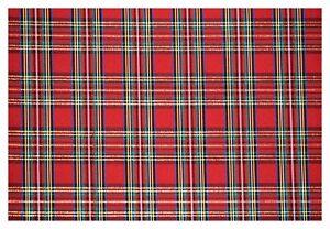 "Christmas Plaid Red Green Taffeta Metallic Poly Holiday Fabric 56""W By The Yard"