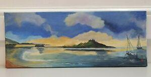 Daphne Meakins original island & seascape painting on 50 x 20 cm canvas I8Y264