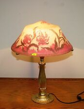 """FRENCH REPRODUCTION CAMEO GLASS """"DUAM NANCY"""" TABLE LAMP EUROPE POST 1940"""