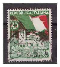 FIERA DI TRIESTE  1952 -  25 LIRE   ROSSO  SPOSTATO   USATO