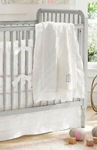 Pottery Barn Kids Baby Belgian Linen Eyelet White Crib Skirt 100% Linen Unisex