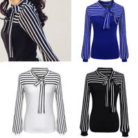 Women Ladies Striped Tie-Bow Neck Striped Tops Long Sleeve Splicing Shirt Blouse
