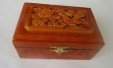 Hand  Carved wood bird Box Jewelry