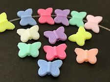 50 BUTTERFLIES multicolor acrylic plastic loose beads FREE SHIPPING