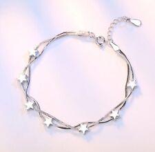 925 Sterling Silver Star Love Charm Linked Bracelet Women's Jewellery New Gift.