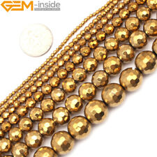 """Natural Hematite Gemstone Faceted Beads Gold Metallic Coated Reflections 15"""""""