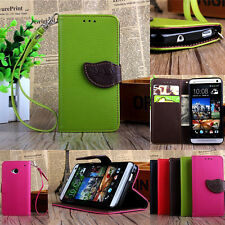 Hot Protective Stand Flip Leather Card Cover Case Skins Wallet For HTC One Phone