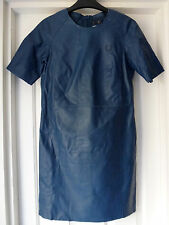 Fred Perry / Richard Nicoll Navy Blue soft leather shift dress size 8