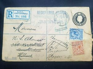TURKEY CONSTANTINOPLE 1919, BRITISH LEVANT RARE REGISTERED COVER TO Holland