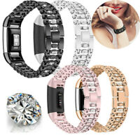 Fashion Crystal Strap For Fitbit Charge 2 Stainless Steel Watch Band Wristband