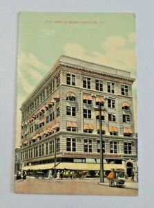 The Temple Building Danville, IL S.H. Knox Vintage DB Postcard Early 1900's 6647