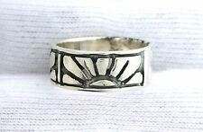 .925 Solid Sterling Silver Setting Rising Sun Ring Size 6 PSR421