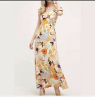 Anthropologie Harlyn Womens Multi Color Floral Gilded Garden Maxi Dress Small