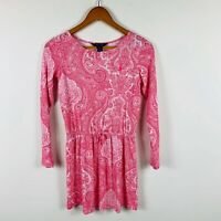 Ralph Lauren Girls Dress Size Large (12-14) Paisley Pink White Gorgeous Design