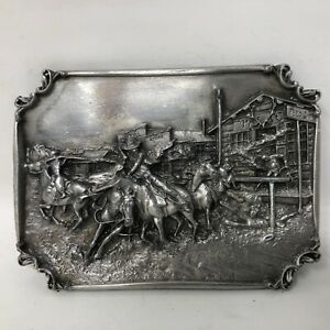 VTG Siskiyou Bronc to Breakfast Charles Russell Belt Buckle Reproduction Rodeo