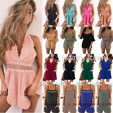 Womens Holiday Strap Mini Playsuit Ladies Summer Shorts Jumpsuit Beach Dress