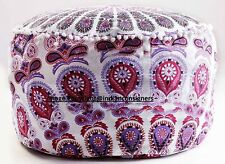 Pink Color Peacock Mandala Cotton Ottoman Footstool Chair Seat Cover Indian Art