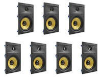 "7 Pack - TDX 8"" 2-Way In Wall Home Theater Surround Sound Speaker Flush White"