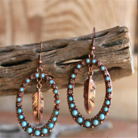 Women Vintage 925 Silver Turquoise Dangle Drop Earring Ear Hook Fashion Jewelry