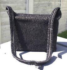 VINTAGE 50s BLACK BEADED FABRIC BOX STRUCTURED SHAPE SHOULDER BAG