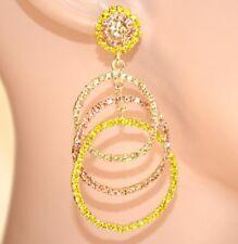 PENDIENTES círculos mujer strass cristales oro rosa ámbar amarillo elegante E110