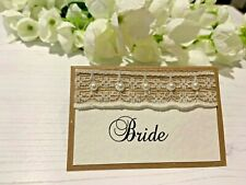 Rustic Place Cards Personalised with Names - Hessian Ribbon with Lace & Pearls