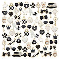 20PCS Black&White Enamel Plated Hat Knot Glasses Bag Charms Pendant DIY Findings