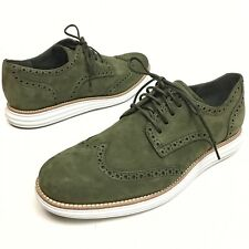 Cole Haan Lunargrand Wing Tip Oxfords Suede Olive Green Sz 10M Dress Casual NIB