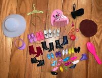 Vtg Barbie Doll Shoes Mules High Heels Pairs Singles Lot Brush Hat Comb Necklace