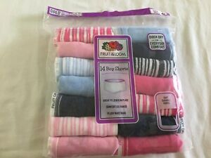 NWT Fruit of the Loom Girls Boy Shorts Panties Underwear 14 pairs/pack Stripes
