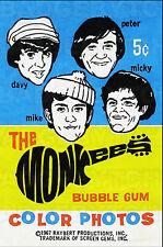 THE MONKEES bubble gum wrapper  LARGE FRIDGE MAGNET  - CLASSIC COOL!