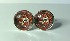 Coiled Red Dragon and Skull Glass domed cufflinksCufflinks