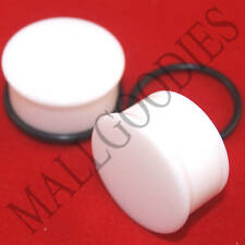 "1315 White Acrylic Single Flare 1"" One Inch Plugs 25mm MallGoodies 1 Pair"