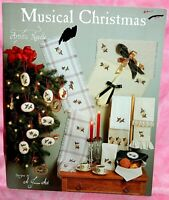 Artistic Needle Musical Christmas Cross Stitch Chart Leaflet Ornaments Harp Horn