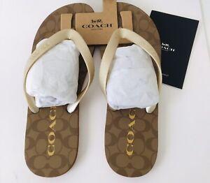 NWT COACH Khaki Gold Logo Zak Signature Flip Flop Sandals Size 10B In Package