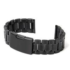 Schwarz Uhrenarmband Solide Edelstahl Stahl Links Uhr Band Riemen Gerade En B1K5
