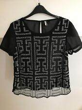 Topshop Black Patterned Top
